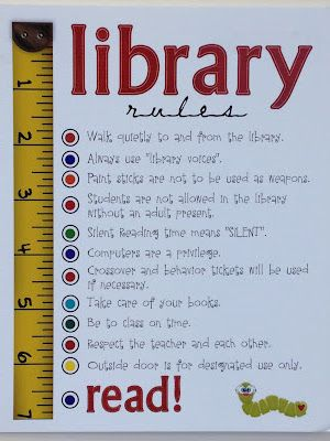 I like this graphic for my classroom rules.Library Rules poster