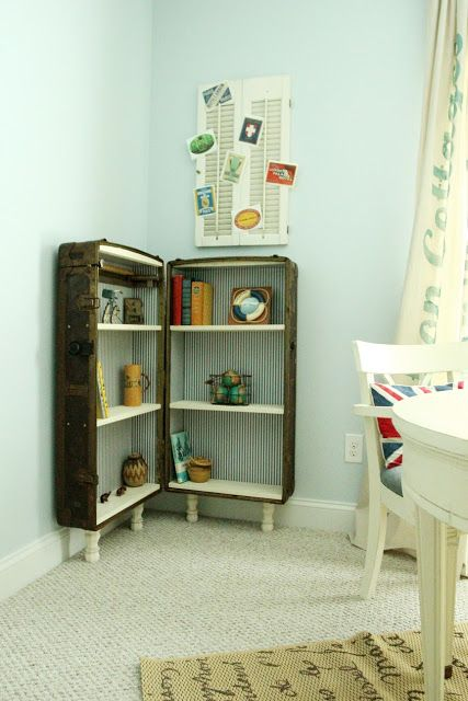 Clever use of an old trunk. Most little boys would love this. Furniture Feature Friday – Link Party & Favorites