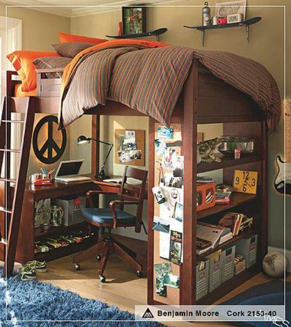 moderne praktische Inneneinrichtung-kleines Schlafzimmer Teenager