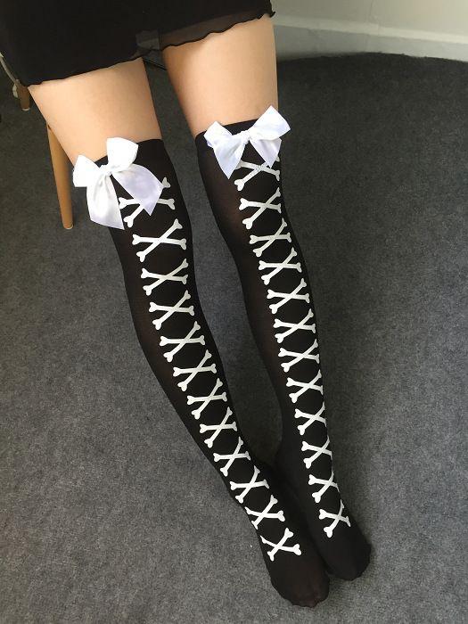 Japanese Harajuku Lolita Printed Thigh High stockings - http://pastelgothfreak.com
