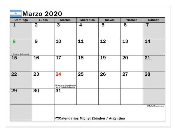 calendario marzo 2020  argentina