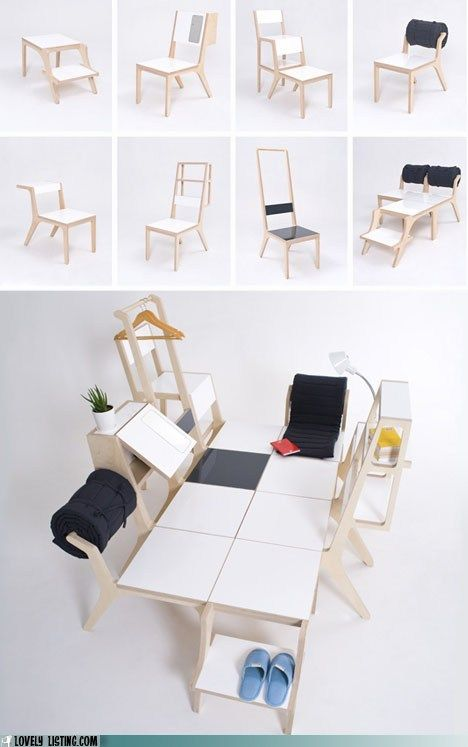 Eight multi-purpose chairs combined to make one bed. Interesting.