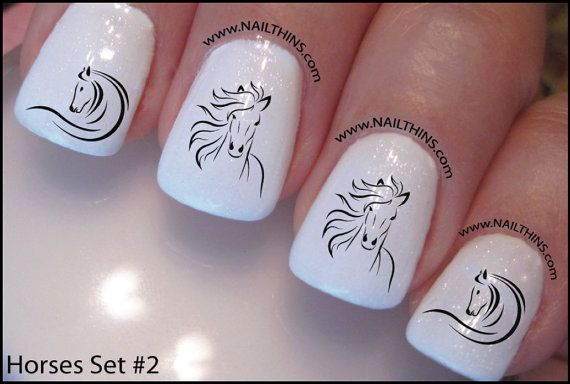 Horse Nail Decal Set 2 Horse Design Nail Art by DowningStDesign, $4.00