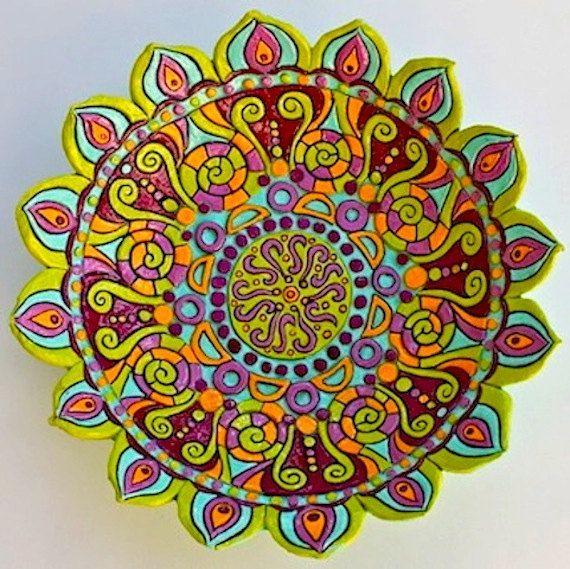 Large Mandala Bowls: Hand built carved kiln by agypsyteaparty