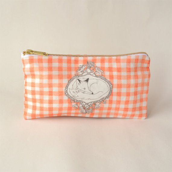 This listing is for a digitally printed, hand sewn fox pencil case developed from original watercolour and pen and ink illustrations by Leanne Shea Rhem and Zac Kenny