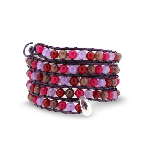 Pink Ruby Color Agate Gemstone Beads Leather Wraparound Bracelet 41in