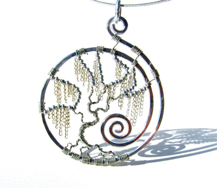 Tree of Life - Silver Weeping Willow Pendant with Silver Chain Leaves and Silver Wire Branches
