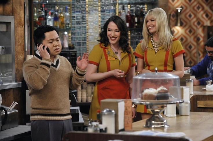 "2 Broke Girls- ""And The Drug Money"" - Matthew Moy as Han Lee, Kat Dennings as Max Black and Beth Behrs as Caroline Channing in 2 BROKE GIRLS on CBS."