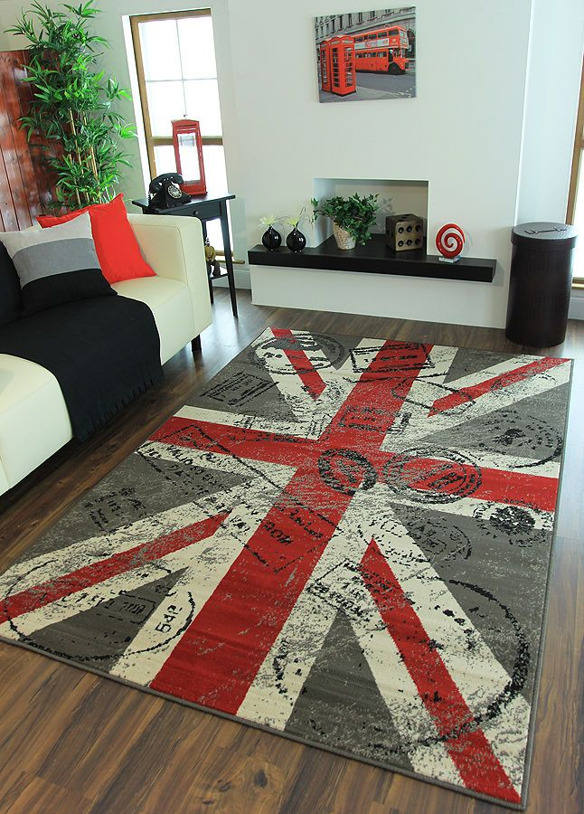 Modern Red Grey Retro Union Jack Rug Super Soft Stylish Postcard Print In 2018 H O M E Pinterest Rugs And Room London