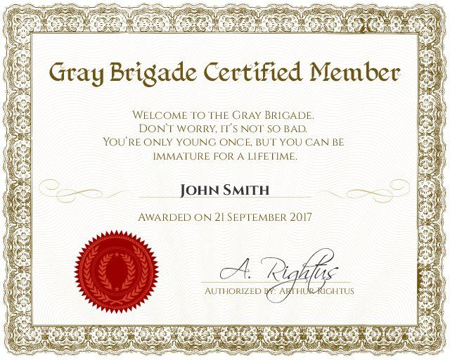 Gray Brigade Funny Membership Certificate - Customizable with the free online certificate maker