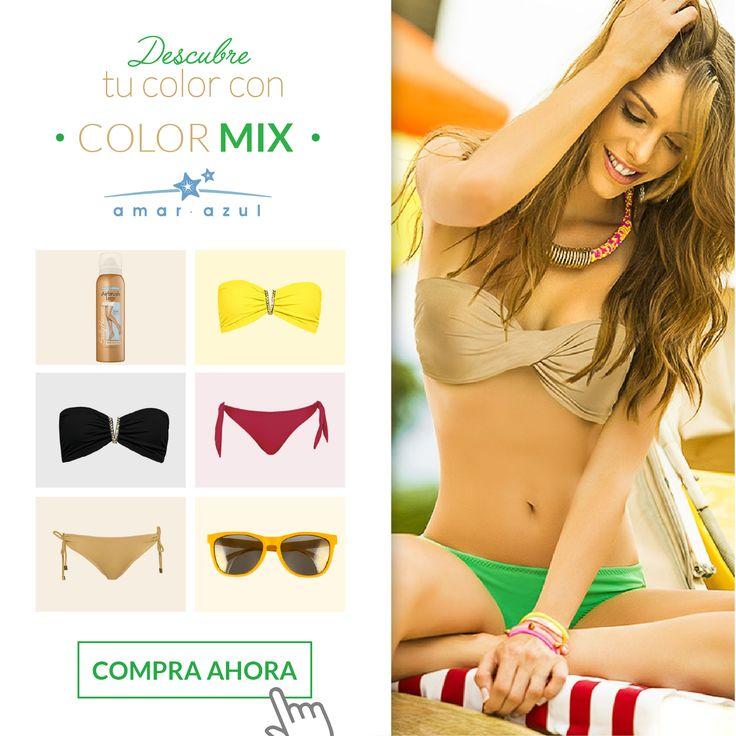 Yo escojo qué #color ponerle a mis días soleados, escoge tú también con nuestras referencias de #ColorMix ingresando en nuestra tienda virtual. #swimwear #beachwear #vestidosdebaño #bikini #amarazulswimwear #Colormix