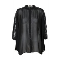 Only $35 With lace detailing on the sleeves, black sheer fabric and loose fit, this blouse will make you feel beautiful. Its 'poncho' feel will make it fun to wear day or night.