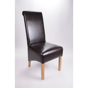 Krista Bonded Leather Dining Chair Brown  www.easyfurn.co.uk