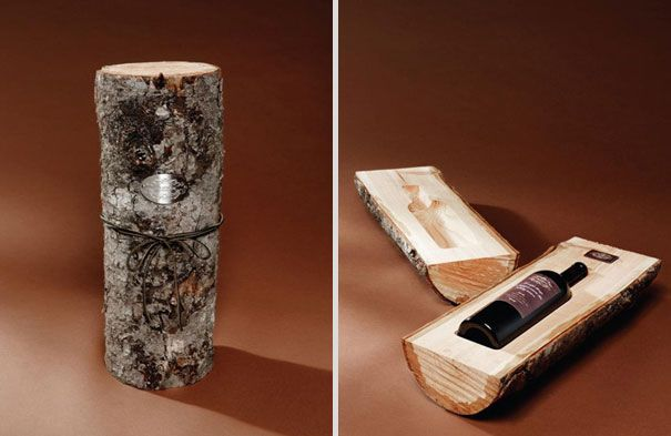 A cleft and hollowed log to hold and transport a bottle of wine.  @Will Gordon, don't know how DIY this is, but maybe once you have your own winery, backyard, time...