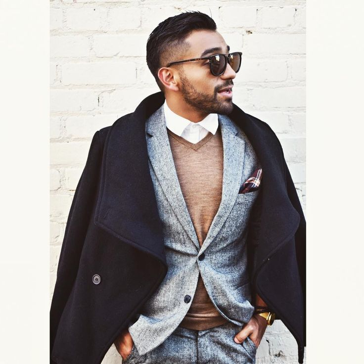 layers // menswear, mens style, fashion, suit, grey, winter, holiday, sweater, topcoat, sunglasses, hairstyle, haircut, hair style cut, pocketsquare, #sponsored