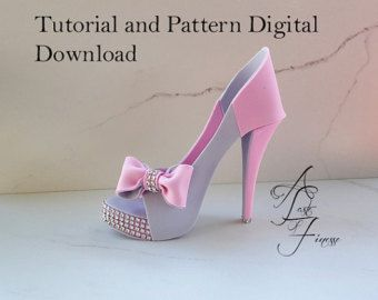PDF Tutorial and Pattern Fondant High Heel, Fondant Shoe Instructions, Sugar Shoe Template, Fondant High Heel Cake Decorating