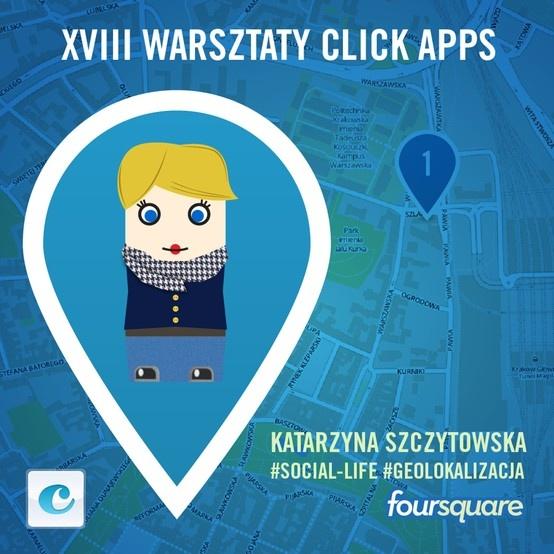 Mamy Mema po Face Lifting'u. 18. Warsztaty click apps, #Katarzyna Szczytowska, #Foursquare, #Social Life.  Będzie o Foursquare i o wykorzystaniu geolokalizacji w mediach społecznościowych oraz premiera nowej wersji aplikacji click discount, również na urządzenia mobilne.