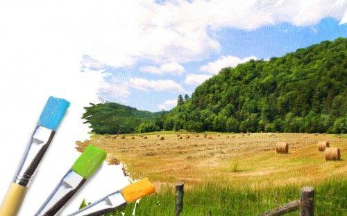 Обои кисти, трава, холст, краска, небо, пейзаж, облако, зелень, сено на рабочий стол 14137