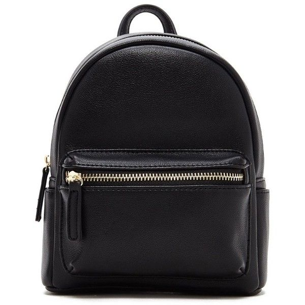 Forever21 Faux Leather Mini Backpack ($20) ❤ liked on Polyvore featuring bags, backpacks, black, vegan bags, mini rucksack, forever 21 backpacks, rucksack bags and forever 21 bags