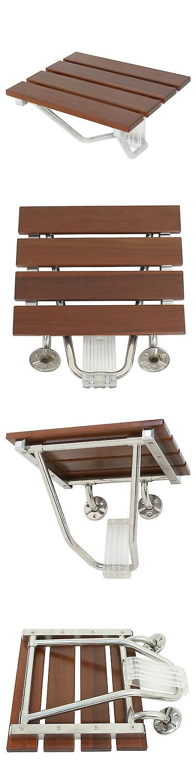 Shower and Bath Seats: Folding Bath Seat Bench Folding Shower Chair Wall Mount Solid Wood Construction -> BUY IT NOW ONLY: $41.99 on eBay!