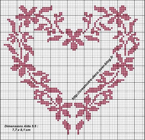 Coeur fleuri, free embroidery design.