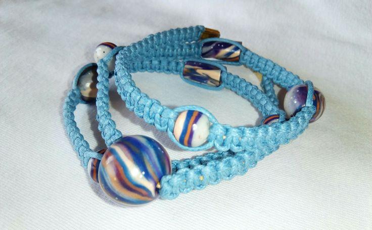 Triple macrame bracelet made with handmade beads