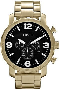 Fossil Nate Chronograph Stainless Steel Watch Gold-Tone JR1421 < $123.25 > Fossil Watch Men