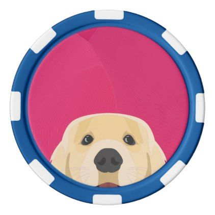 Illustration Golden Retriver with pink background Poker Chips Set - pink gifts style ideas cyo unique