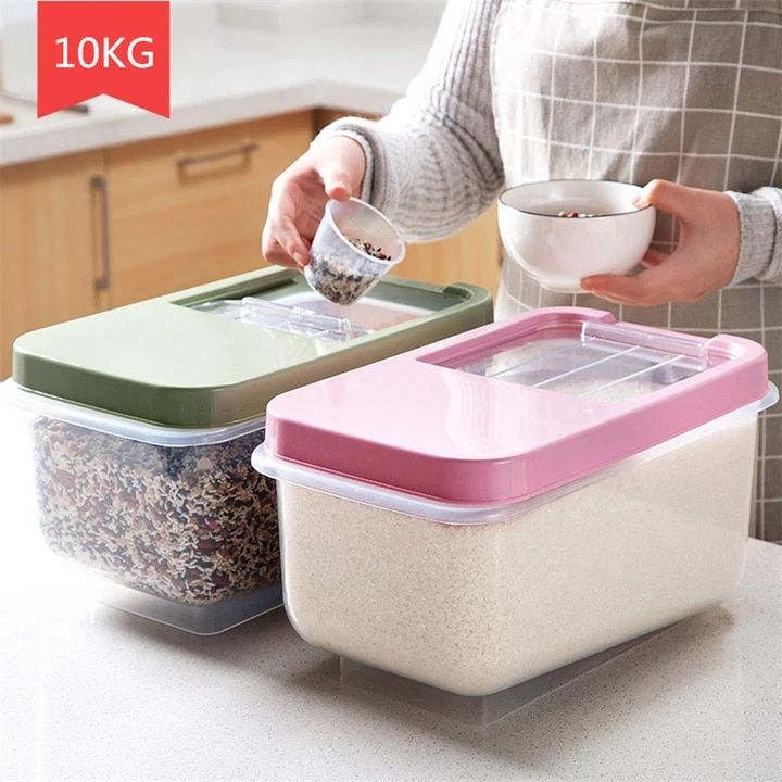All 2 341 73 31 Off Kitchen Storage Organizer 10kg Grain Storage Container Rice Box Cereal Be Grain Storage Kitchen Storage Organization Storage Containers