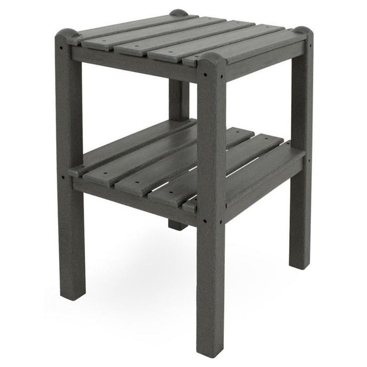 Outdoor POLYWOOD® Traditional Recycled Plastic 2-Shelf Side Table - TWSTGY
