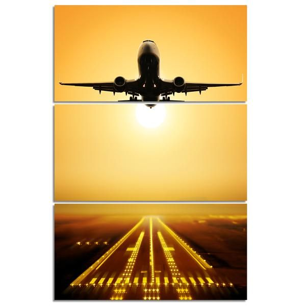 3 Piece Panel Wall Art Jet Airplane Taking Off At Sunset Panel Canvas Print Panel Wall Art Canvas Prints Canvas Art Quotes