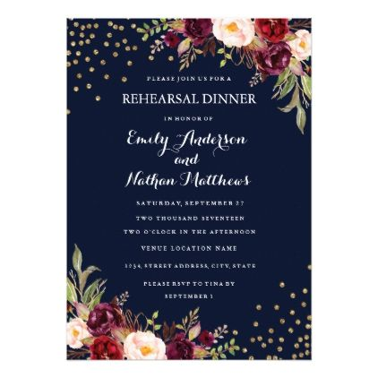 Navy Burgundy Confetti Floral Rehearsal Dinner Card - burgundy style stylish cyo diy customize