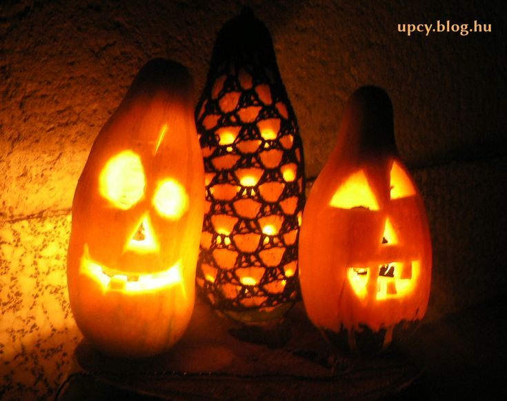 Crochet Halloween pumpkin cut. Horgolt tök dísz.