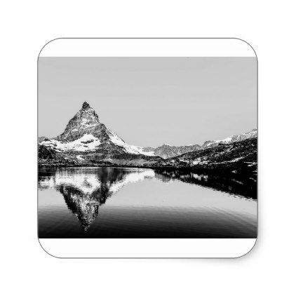 Matterhorn mountain black and white landscape square sticker - black and white gifts unique special b&w style