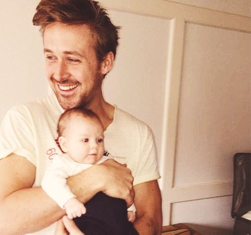 Can we just talk about Ryan Gosling laughing while holding a baby??? STAPH JUST STAPH