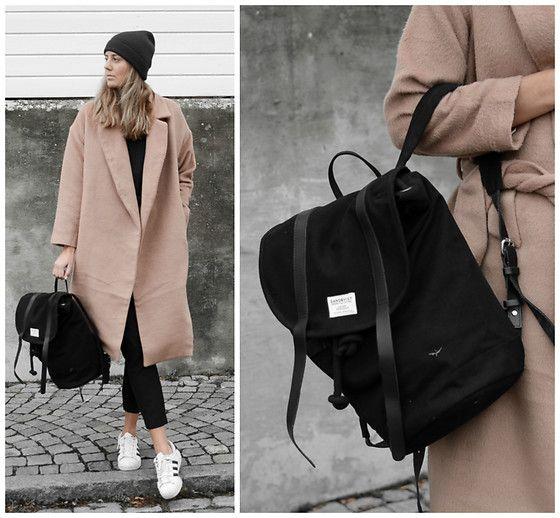 Kajsa Svensson - Sandqvist Bag, Make Way Jacket, Adidas Sneakers - October 19  minimalist neutral camel oversized coat camel fashion