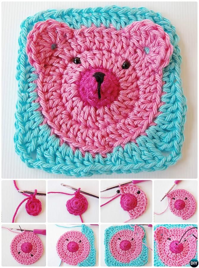 #Crochet Teddy Bear Granny Square Free Pattern