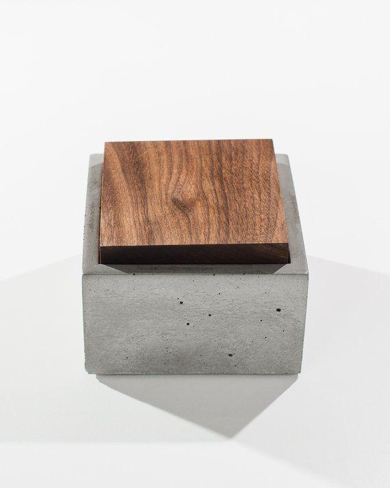 Small Grey Concrete Box with solid Dark American Walnut or Mahogany wood lid / Minimalist Home Decor/Jewelry Box