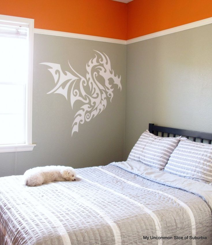 gray and orange boys room
