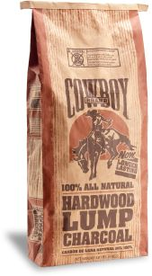 Cowboy Brand Hardwood Lump: Cowboy hardwood lump charcoal lights quickly and burns long. It's a favorite for barbecue fans because of the authentic smoky flavor it gives to your meals. •  100% natural hardwood lump Leading natural lump charcoal brand •  Lump charcoal lights faster, burns hotter and leaves less ash than briquets •  Lights easily without using lighter fluid •  Produces high heat to sear in smoky flavor •  Available in 8.8lb and 20lb bags