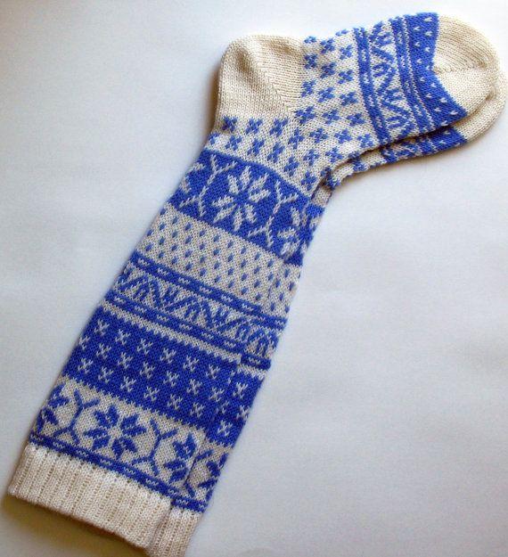 Scandinavian pattern rustic knit knee-high blue and white wool socks via Etsy.