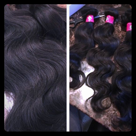 Brazilian Body Wave Hair, Customized to Order 100% Unprocessed Brazilian virgin hair body wave.  Hair Grade: High quality human hair Brazilian body wave. Hair color: no dyed natural color hair (Natural Black).  Quality: no shedding, no tangles, no lices, can be dyed.  Hair Length: 12, 14, 16, 18, 20, 22, 24 inches still available in stock. Brazilian Body Wave Accessories Hair Accessories