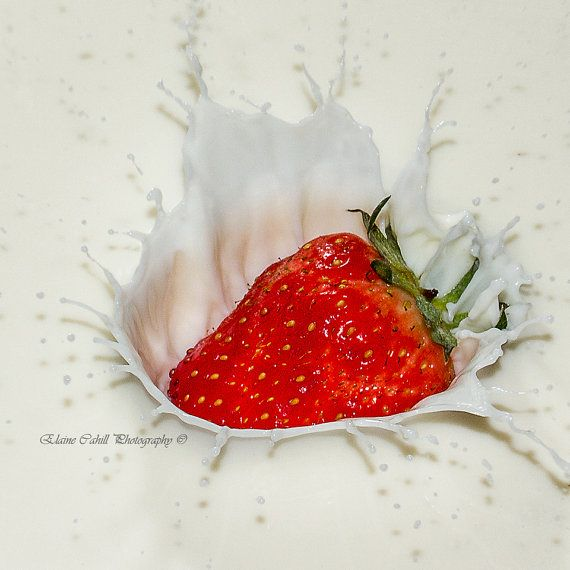 Strawberries and cream by peridotphotography on Etsy, €22.00