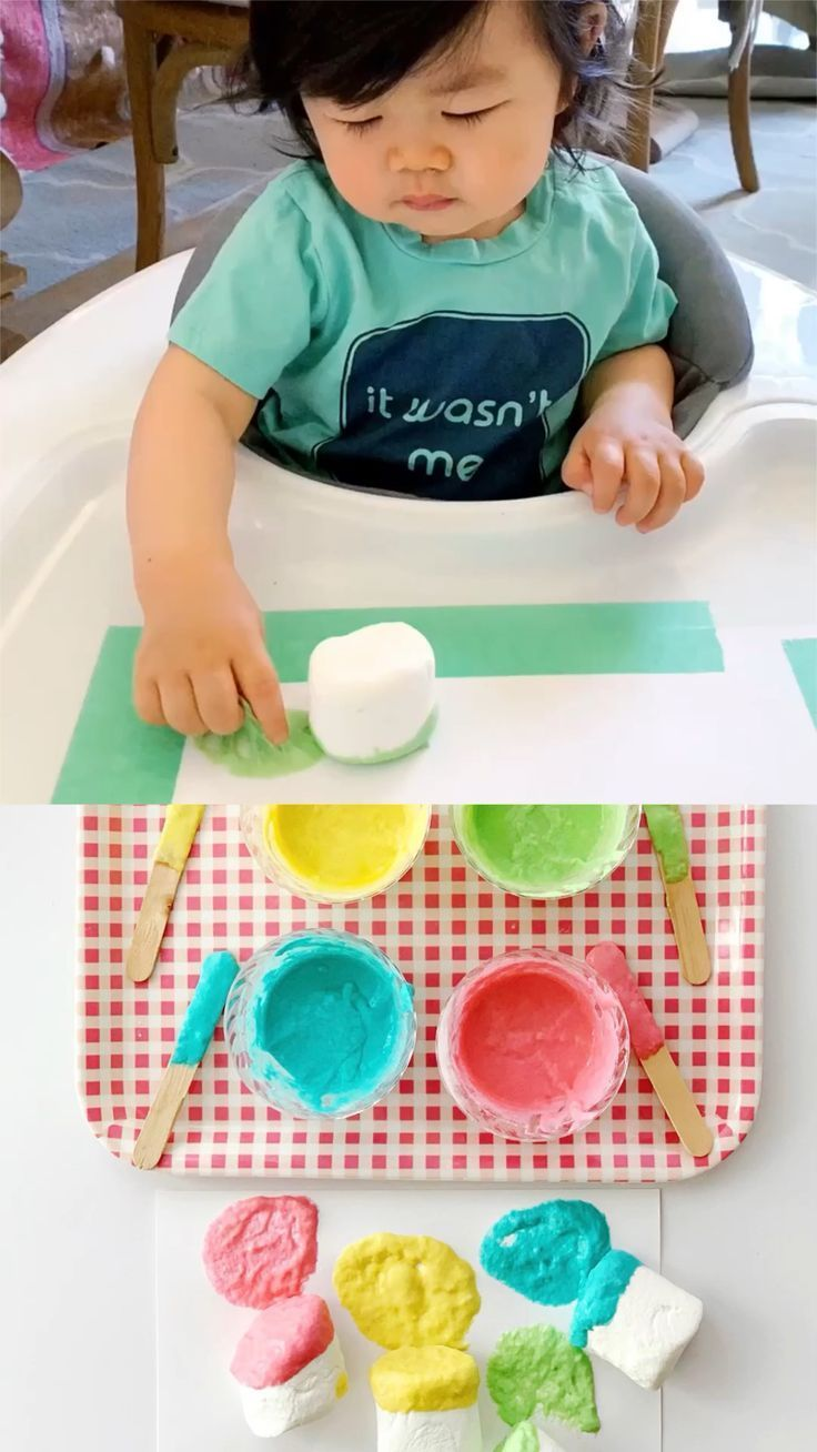 How to set up baby painting with marshmallows and edible paint. – hello, Wonderful