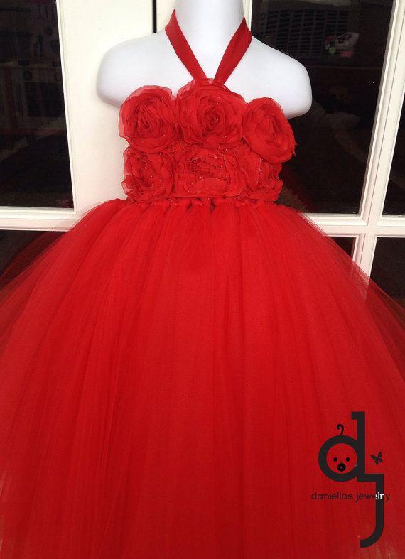 Red Tutu Dress/ Toddler Tutu/ 3 year old  T/Flower Girl/Christmas tutu/ Red tutu /Christmas red tutu on Etsy, $68.95