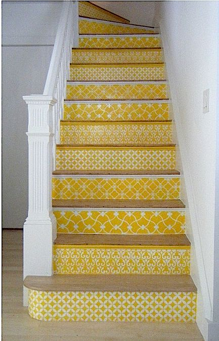 stairs...Stairs Risers, Painting Stairs, Colors, Moroccan Stencil, Basements Stairs, Cool Ideas, House, Yellow, Staircas