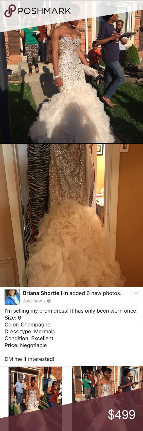 Mori lee Mermaid Prom Dress Condition: Excellent; Color: Champagne; Size:6/8   ONLY BEEN WORN ONCE!!!!! Mori Lee Dresses Prom