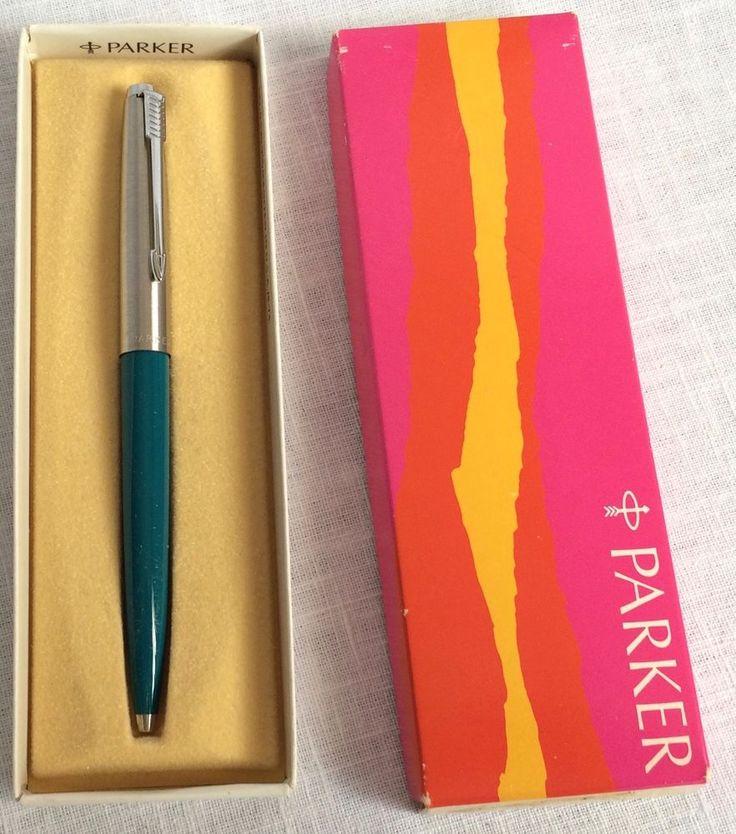 1974 Vintage Parker Jotter Ball Point Pen Original Box Blue Barrel Arrow Clip #Parker