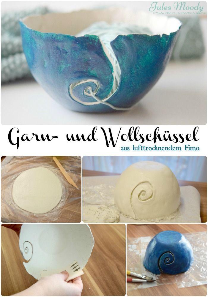 Selbstgemachte Garn- oder Wollschüssel aus lufttrocknendem Fimo, DIY Garnschale, Wollschale, Stricken, Häkeln