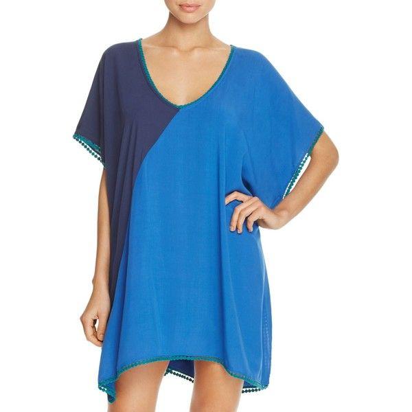 Heidi Klum Swim Tamarin Sands Tunic Dress Swim Cover-Up ($61) ❤ liked on Polyvore featuring swimwear, cover-ups, black iris, swim wear, cover up swimwear, cover up beachwear, swim cover ups and swim swimwear